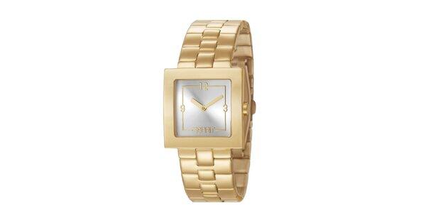 Dámske hodinky Esprit s hranatým ciferníkom v zlatej farbe