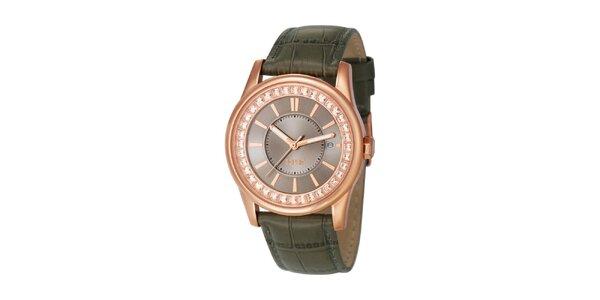 Dámske ružovozlaté hodinky so zeleným remienkom Esprit