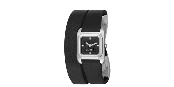 Dámske strieborné hodinky Esprit s dvojitým čiernym remienkom