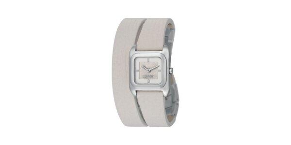Dámske strieborné hodinky Esprit s dvojitým bielym remienkom