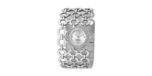 Dámske strieborné hodinky Esprit s krúžkovým náramkom a kryštáľmi
