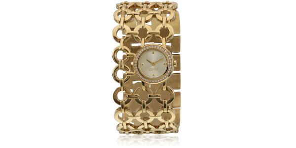 Dámske zlaté hodinky Esprit s krúžkovým náramkom