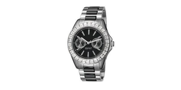 Dámske čierno-strieborné hodinky s keramickým náramkom Esprit