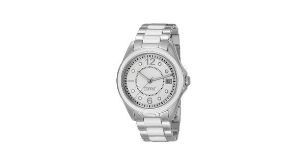Dámske strieborno-biele náramkové hodinky Esprit