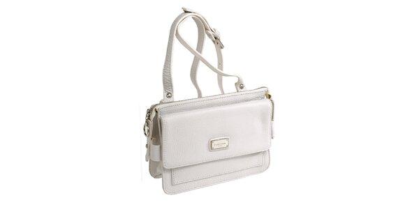 Dámska biela kožená kabelka s visačkou Fuchsia