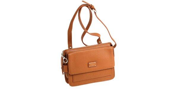 Dámska koňaková kožená kabelka s visačkou Fuchsia