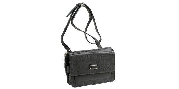 Dámska čierna kožená kabelka s visačkou Fuchsia