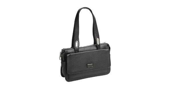 Dámska čierna kožená kabelka s dvomi ušami Fuchsia