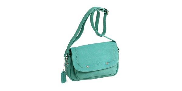 Dámska zelená kabelka cez rameno s visačkou Fuchsia