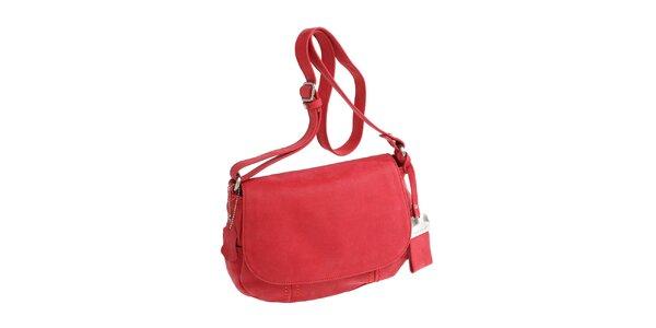 Dámska červená oválná kabelka cez rameno