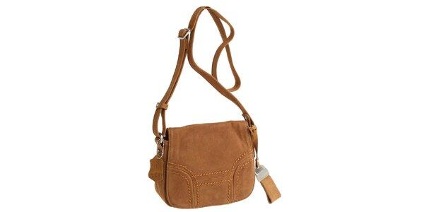 Dámska karamelovo hnedá kabelka cez rameno Fuchsia
