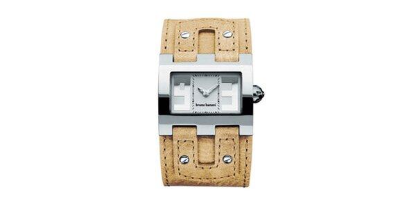 Dámske béžovo-strieborné náramkové hodinky Bruno Banani