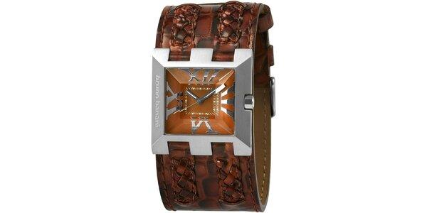 Dámske hnedé hodinky s vrkočovými detailmi Bruno Banani