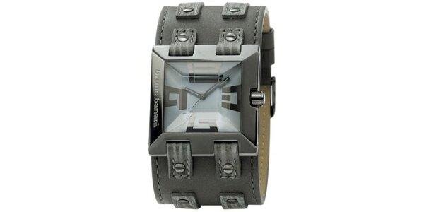 Pánske kovovo šedé hranaté hodinky Bruno Banani