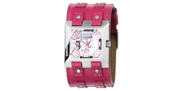 Dámske strieborné hodinky s ružovým remienkom Bruno Banani