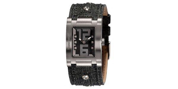 Dámske strieborné hodinky s džínsovým remienkom Bruno Banani