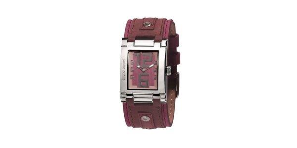 Dámske strieborné hodinky s ružovým ciferníkom Bruno Banani