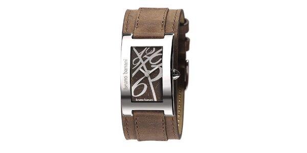 Dámske strieborné hodinky s koženým remienkom Bruno Banani