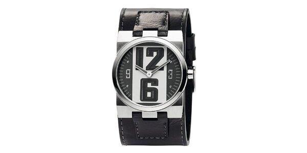 Pánske tmavošedé analogové hodinky s koženým remienkom Bruno Banani