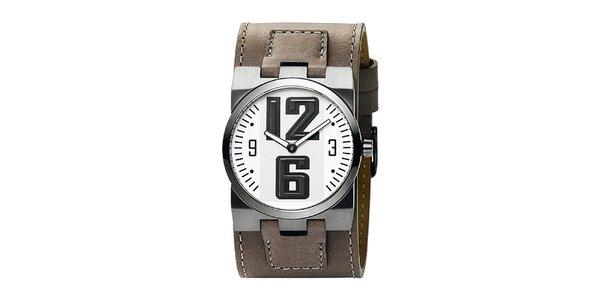 Pánske hnedé analogové hodinky s bielym ciferníkom Bruno Banani