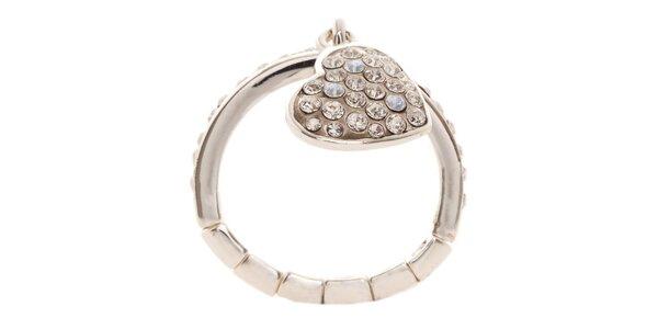 Dámsky prsteň Guess so srdiečkom a kamienkami