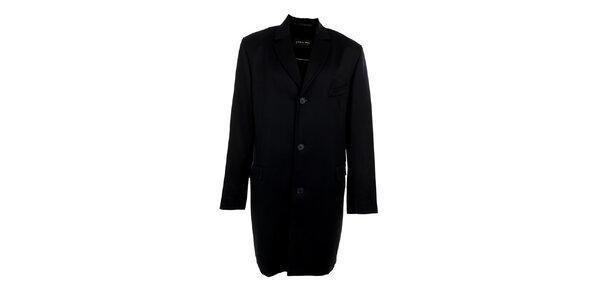 Pánsky dlhý čierny kabát s vreckom Pietro Filipi