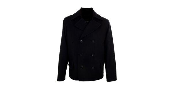 Pánsky krátky čierny dvojradový kabát Pietro Filipi