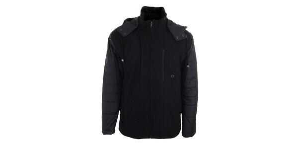 Pánska čierna bunda s kapucňou Pietro Filipi