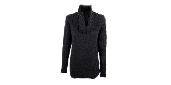 Dámsky tmavo šedý dlhší sveter s rolákom Pietro Filipi