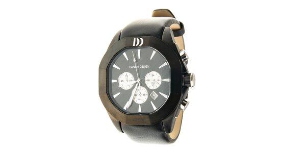 Čierne ocelové hodinky Danish Design s čiernym koženým pásikom