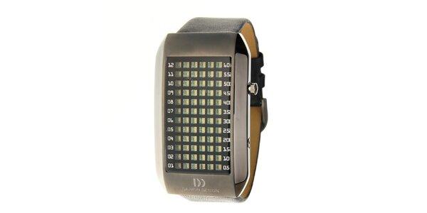Pánske čierne ocelové hodinky Danish Design s čiernym koženým remienkom
