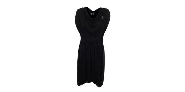 Dámske čierne šaty s vodovými skladmi Pietro Filipi