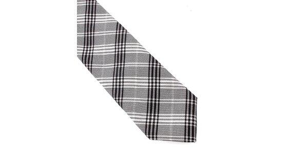 Pánska šedo-čierna kockovaná hodvábna kravata Pietro Filipi