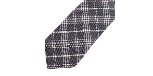 Pánska šedo-biela kockovaná hodvábna kravata Pietro Filipi