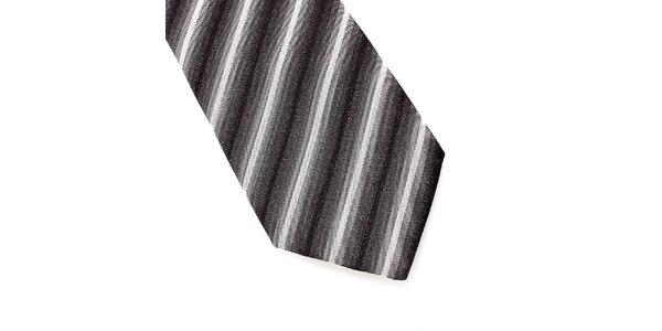 Pánska šedo-biela prúžkovaná hodvábna kravata Pietro Filipi
