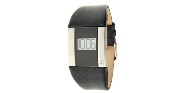 Dámske čierno-strieborné digitálne hodinky Danish Design s čiernym koženým…