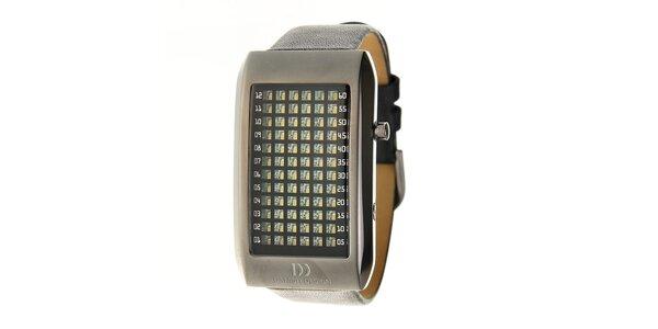 Čierne ocelové hodinky Danish Design s čiernym koženým remienkom
