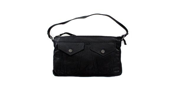 Dámska čierna kožená kabelka Levis s vreckami