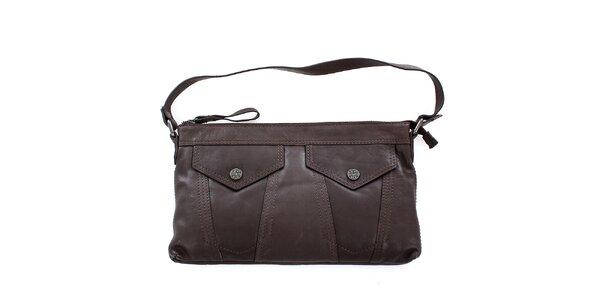 Dámska hnedá kožená kabelka Levis s vreckami