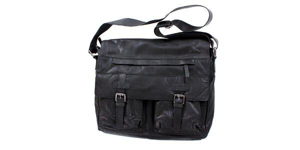 Dámska čierna taška s ramenným popruhom a prackami Levis