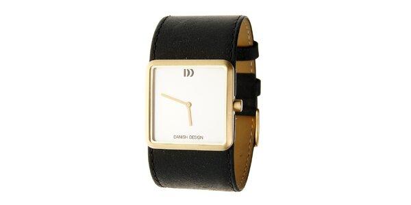 Dámske ocelové hodinky Danish Design s čiernym koženým pásikom