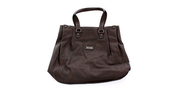 Dámska hnedá kabelka s ozdobným pletením Levis