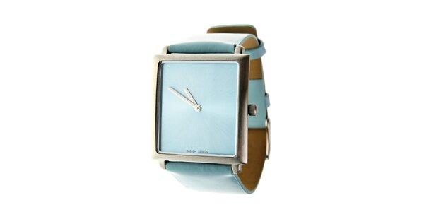 Dámske svetlo modré hodinky Danish Design s koženým remienkom