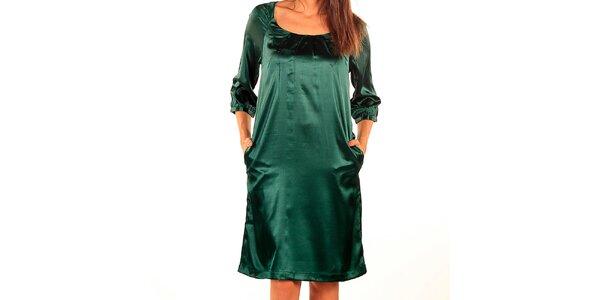Dámske lesklé tmavo zelené šaty Tonala
