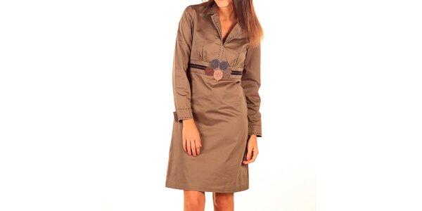 Dámske svetlo hnedé šaty s výšivkou Tonala