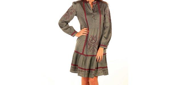 Dámske zelené vyšívané šaty Tonala