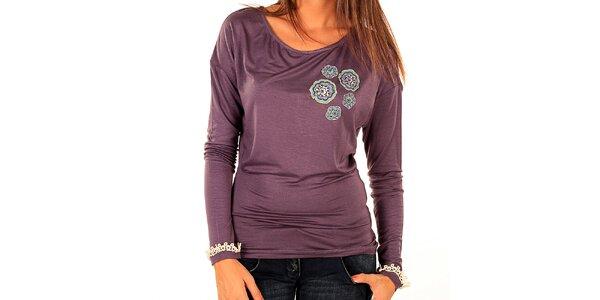 Dámske fialové tričko s farebnou aplikáciou Tonala