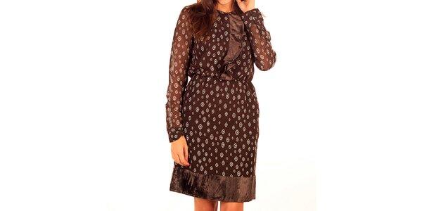 Dámske hnedé šaty s potlačou Tonala