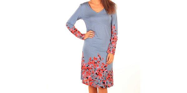 Dámske svetlo modré šaty s potlačou Tonala