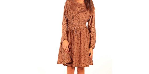 Dámske karamelovo hnedé šaty s bodkami Tonala